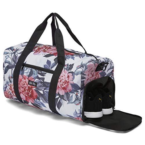 Ela Mo's Elegante Sporttasche Reisetasche mit Schuhfach | 38 Liter Handgepäck Weekender | für Frauen und Männer | in 6 trendigen Designs (Bloom!)