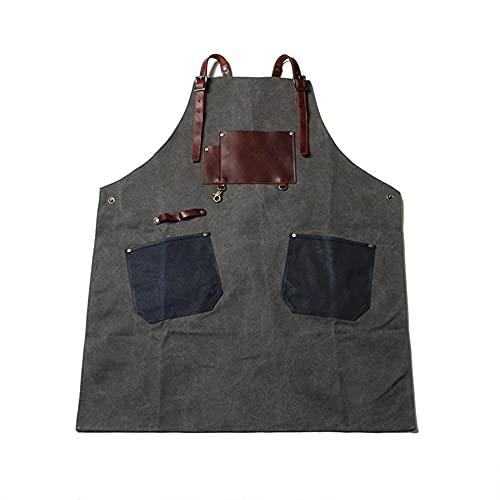 MJAHQ delantal de carpintería delantal para herramientas de jardinería delantal de trabajo con bolsillos , cuello colgante se puede ajustar para cocina delantal de trabajo barbecker-gris_82x28cm
