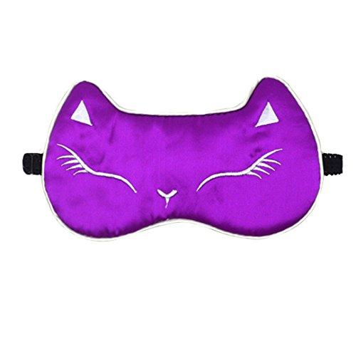 Sun Kea Women Girls Silk Eye Mask Cute Cat Sleeping Eye Cover for Shift Work Nap Blindfold(Purple)