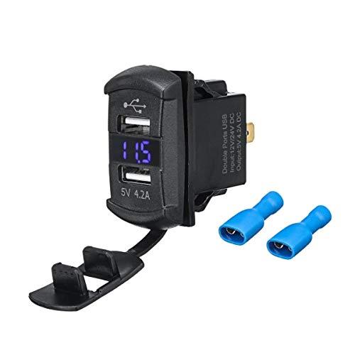 ZIHAN Feil Store USB LED Rojo Azul 12V / Cargador retroiluminado Interruptor oscilante en Forma for el Polaris RZR 1000 Guardabosques 900 RZR900 voltímetro Digital Azul de luz LED (Color : Red)