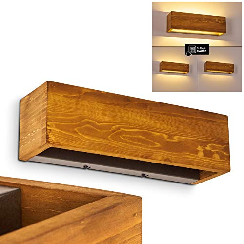 LED Wandlampe Adak, dimmbare Wandleuchte aus Holz/Metall in Braun/Grau, 1-flammig, 13,5 Watt, 1800 Lumen, 3000 Kelvin (warmweiß), längliche Innenwandleuchte m. Up&Down Effekt an der Wand