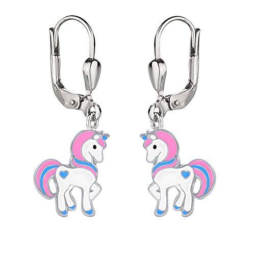 FIVE-D Kinderohrringe buntes Einhorn Pferd 925 Sterling Silber im Schmucketui (Pink-Blau)