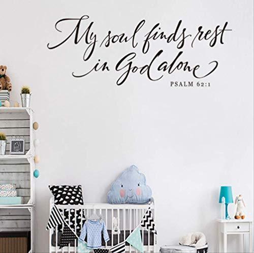 Muursticker Mijn ziel vindt rust in God Psalm Verwijderbare Sticker Art Vinyl muurschildering Home Decor Engels Spreuken Vinilos para Paredes