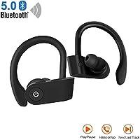 Auriculares Bluetooth 5.0, Auriculares estéreo HD IPX5 livianos e Impermeables con micrófono Sonido HD y Deportes de Graves Profundos para PC iOS Airpods PC con Tableta Android