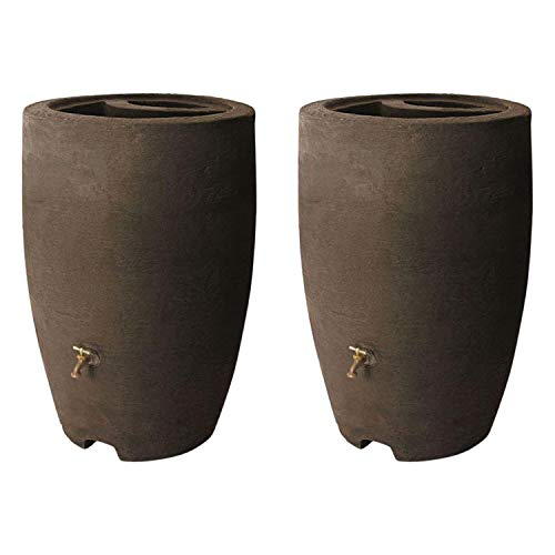 Algreen ALG-86312 Athena 50 Gallon Plastic Rain Water Collection Drum Barrel, Brownstone (2 Pack)