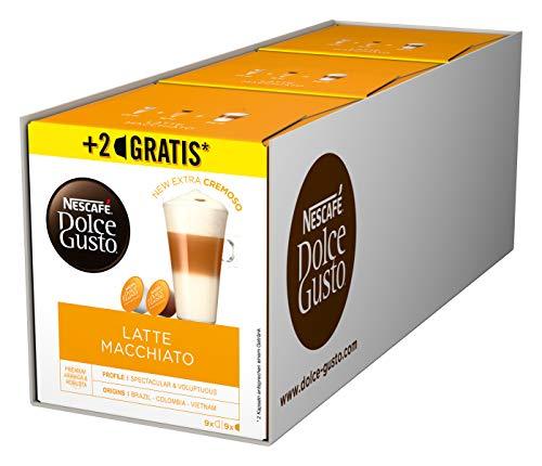 NESCAFÉ Dolce Gusto Latte Macchiato I 54 Kaffeekapseln I Aromatischer Espresso I 3-Schichten -Köstlichkeit aus feinem Milchschaum, 3er Pack (3 x 16 + 2 Kapseln)
