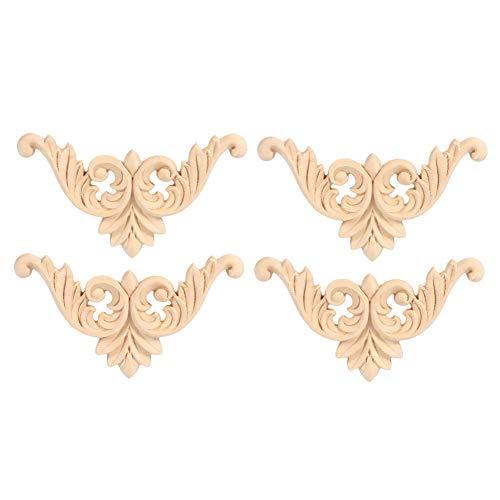 4 stücke Holz Geschnitzte Möbel Applique,Gummi Holz Geschnitzte Ecke Onlay Applique Vintage Europäischen Stil Möbel Ornament Schnitzerei Blume Form Unlackiert Dekoration (8 * 8)