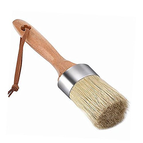 Pococina Round Chalk Paint Brush and Wax Brushes for Furniture, Home Decor (Natural Bristles)