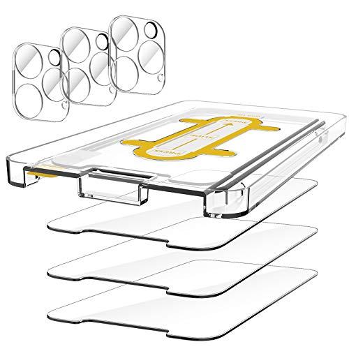 EGV Compatibile con iPhone 12 Pro Max Protector de Pantalla,3 Pack Cristal Templado e 3 Pack Protector de Lente de Cámara Transparente 🔥