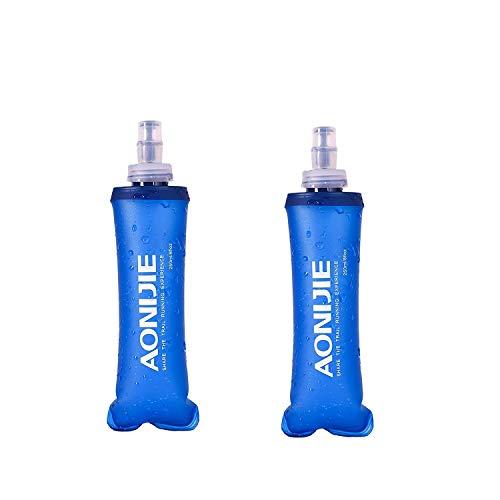 Weiche Trinkflasche, BPA-frei, faltbar, für Marathon, Laufen, Wandern, Radfahren, 250 ml (2 x 8,1 x 3,5 Unzen), 2 Stück