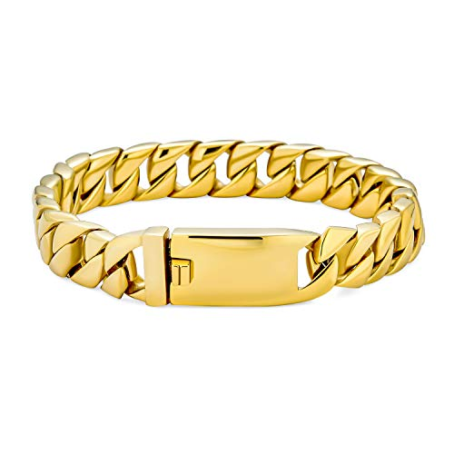 Bling Jewelry Große Starke Starke solide Wohnung Miami kubanischen Bordstein Kette Armband für Männer Teens poliert Gold Ton Edelstahl 8 Zoll