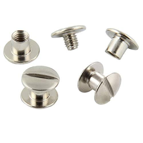 Buchschrauben vermessingt oder vernickelt, Größe wählbar, 20, 50, 100 oder 1000 Stück/vernickelt 5 mm 20 Stück