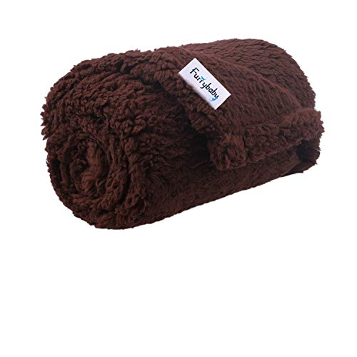 furrybaby Premium Fluffy Fleece Dog Blanket, Soft and Warm Pet Throw for Dogs & Cats (Small (2432'), Brown Blanket)