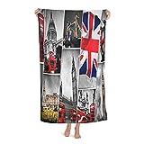 Grande Suave Ligero Microfibra Toalla de Baño Manta,Collage De Los Símbolos De Londres Reino Unido.,Hoja de Baño Toalla de Playa por la Familia Hotel Viaje Nadando Deportes,32' x 52'