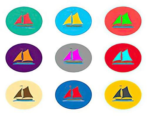 Y·JIANG Pintura de iconos de yate por números, buques marinos, yates, yates, bricolaje, lienzo acrílico, pintura al óleo por números, para adultos y niños, decoración de pared, 40,6 x 50,8 cm