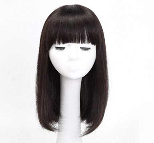 Women's Short Human Hair Pruiken Natural Straight Volledige Head haar pruik met pony for Cosplay Halloween Christmas Party (Color : Natural black, Size : 14inches)