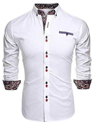Coofandy Camisa Casual Manga Larga Para Hombre de Moda Blanco Talla-S