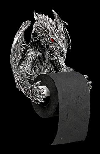 Fantasy Toilettenpapierhalter - Obsidian Drache mit roten Augen | Dekoartikel für das Bad, handbemalt, zum Hängen