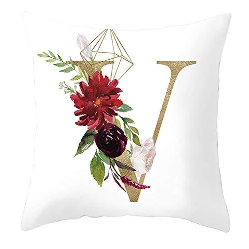 KnBoB Funda Almohada Poliéster 50 x 50 cm V Letra V con Hoja de Flor Rosa Blanco Oro Rojo Estilo 22