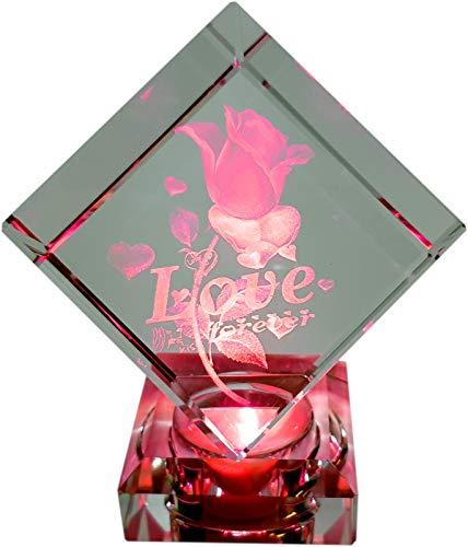 Komerci Glasquader Love Rose Glaskristall 3D Laser Gravur LED Liebe Partner Geschenk Kristallglasquader