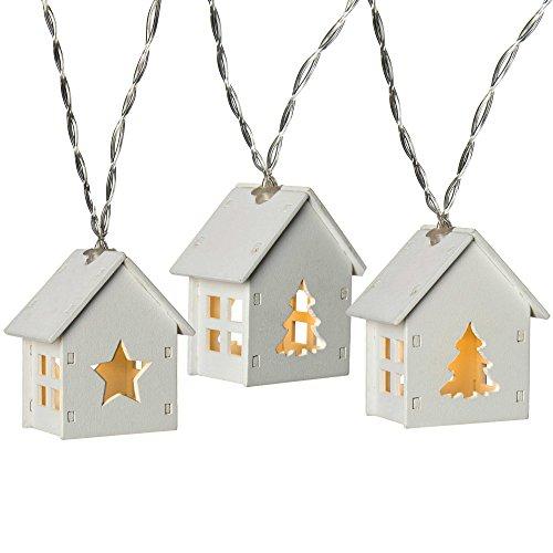 WeRChristmas, catena luminosa con casette di legno, a 10 LED, bianco caldo Stelle e alberi White