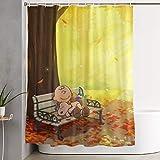Suzanne Betty Duschvorhang Snoopy Herbst-Kunstdruck, Polyester-Stoff, Badezimmer-Dekorationen, Kollektion mit Haken, 152,4 x 183,9 cm