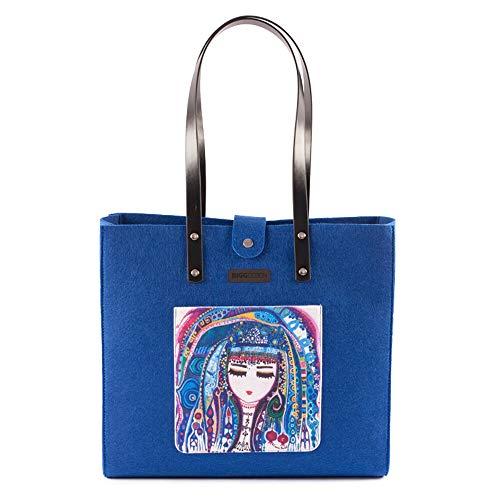 Biggdesign'Blue Water'Felt Bag - Blue, Shoulder Bag, Women's Bag, Felt Bag,Shoulder Bag, original, Ergonomic,38 cm,Blue