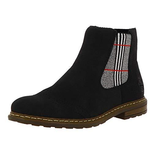 Rieker Damen Stiefeletten, Frauen Chelsea Boots, Schlupfstiefel Stiefel halbstiefel Bootie,Schwarz,41 EU / 7.5 UK