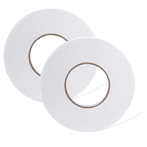 Double Sided Tape, 2 Rolls Foam Tape White Pe Double Sided Foam Tape...