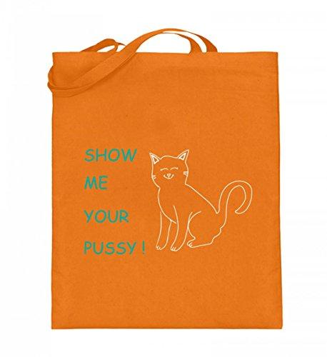 Show me your Pussy (Cat) | Zeig mir deine Muschi-Katze Katzen-Liebhaber Geschenke - Jutebeutel (mit langen Henkeln)