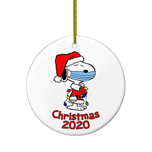 Ornamenti per alberi di Natale, 2020 Snoopy Babbo Natale ornamenti con ciondolo con cordino, regali di Natale in quarantena Presenta decorazioni natalizie in ceramica per amici di famiglia Bambini