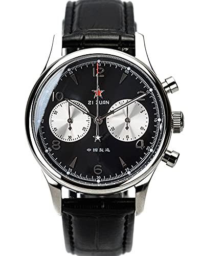 Oro cuello cisne 40MM Cinco Estrellas Panda Chrono Gaviota ST1901 Movimiento Zafiro Cristal Cronógrafo Reloj Hombres 1963 SUPANK008SN