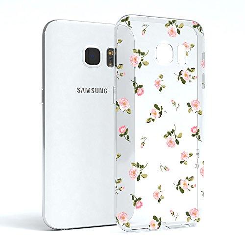 HULI Design Hülle Hülle für Samsung Galaxy S7 mit Rosen Muster - Handy Schutzhülle klar aus Silikon mit romantischen Blumen Romantik - Handyhülle durchsichtig mit Druck