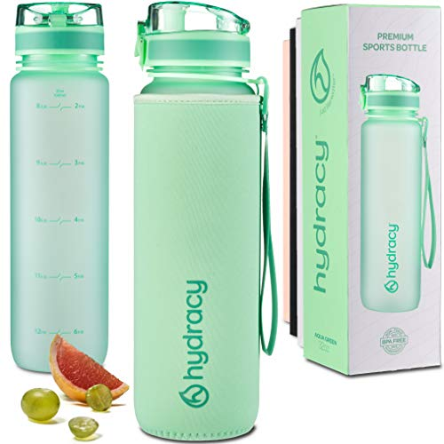 Hydracy Water Bottle with Time Marker - Large 1 Liter 32 Oz BPA Free Water Bottle - Leak Proof & No Sweat Gym Bottle with Fruit Infuser Strainer - Ideal Gift for Fitness or Sports - Aqua Green