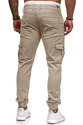 Men's Pants Jogging Chino Cargo Pants Stretch Sports Pants with Pockets Slim Fit Casual Pants (M, Light Khaki)