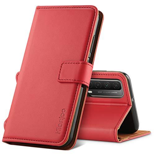 Hianjoo Hülle Kompatibel für Huawei P Smart 2021, Tasche Leder Flip Hülle Brieftasche Etui Handyhülle mit Kartenfach & Ständer Kompatibel für Huawei P Smart 2021,Rot