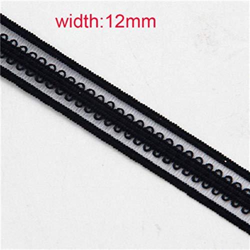 Network zwart naai elastiek elastisch kleding elastische strook tape tape tape DIY haar punt broek maat 2M,black12mm 8