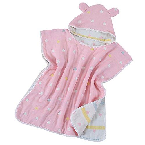 Hapipana 綿100% 6重ガーゼ キッズ 可愛い フード付きバスタオル マント バスローブ ポンチョ