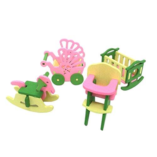 TOYMYTOY Conjunto de Muñecas de Muebles de Habitación de Bebé en Miniatura Juguetes de Madera para Niño