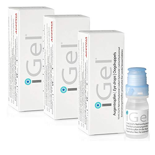 iGel® Moisturizing Eye Drops for Dry Itchy Eyes | Artificial Tears for Red Eyes | Lubricating Eye Drops for Contact Lenses | Hyaluronic Acid & Preservative Free Eye Drops | Made in Europe
