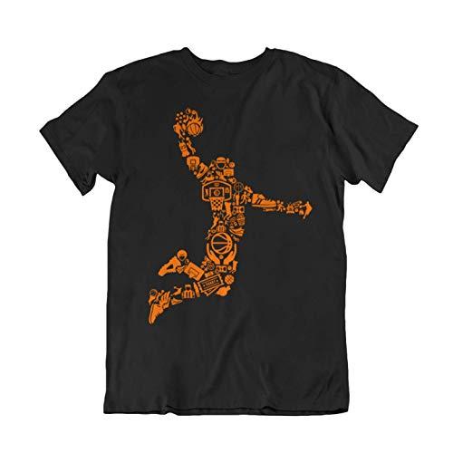 WALLSHIRT T-Shirt Uomo Basket NBA - Nero - M
