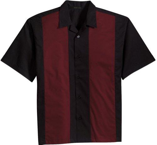 Joe's USA Retro Camp Bowling Shirts in 5 Colors from XS-4XL Black/Burgundy