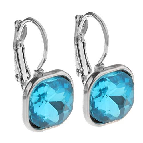 F Fityle Pendientes Colgantes Largos con Gema de Diamantes de Imitación de Cristal Mujer - Azul, 2,5 x 1,5 cm