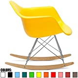 2xhome Yellow Mid Century Modern Molded Shell Designer Plastic Rocking Chair...