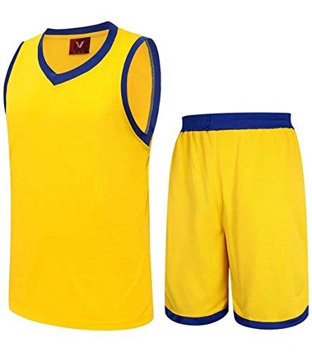 Astage Hombre Joven Camiseta Pantalones Cortos Baloncesto Fútbol Traje Deporte Amarillo 2XL