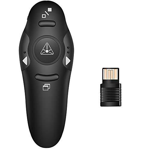 DinoFire Presentation Clicker Wireless Presenter Remote Clicker for PowerPoint Presentation Remote, RF 2.4GHz USB Presentation Clicker PPT PowerPoint Clicker for Mac, Keynote, Computer, Laptop