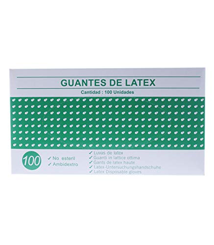 Guantes de latex caja de 100U (Pequeño) Blanco o Azul