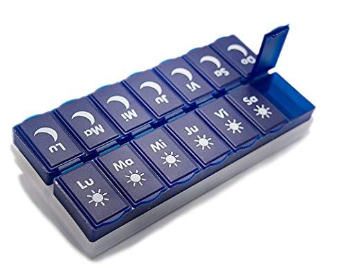 Pastillero semanal 2 tomas diarias en español. Caja para medicamentos con función de pastillero diario. Estuche medico