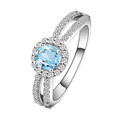 KnBoB 925 Damen Ring Rund Blau Topas mit Zirkonia Blumen Eheringe Vorsteckring Größe 51 (16.2)