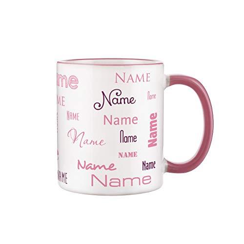 Herz & Heim® Namenstasse in verschiedenen Schriftarten 300 ml aus Keramik mit Farbauswahl Rosa